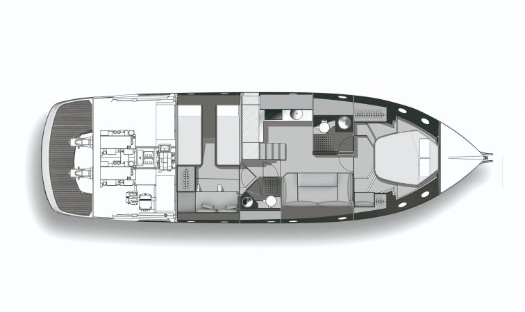 Cranchi M44 PIANTA Lower Deck - With Saloon Bed